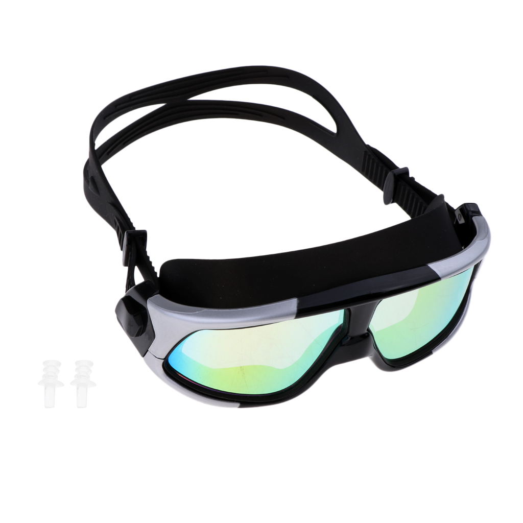 Portable Durable Diving Mask Goggles Tempered Glass Anti-Fog Mask W/ Glass Lens & 2 Ear Plugs Diving Masks