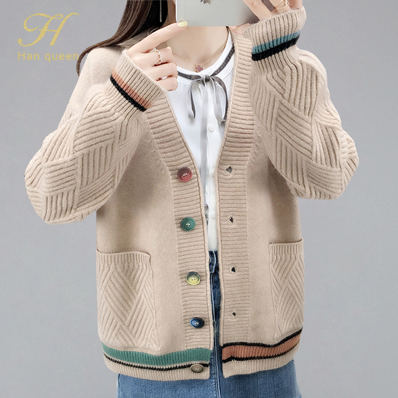 H Han Queen Single-breasted Jacket Knitted Cardigan Sweater Women 2019 Autumn Clothing Sweater Pocket Cardigan For Female Coat