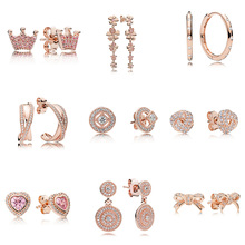Authentic 925 Sterling Silver Earrings Rose Gold Diy Crown Of The Queen Crystal Cz Earrings For Women Wedding Party Jewelry pair of stunning rose wedding earrings jewelry for women