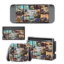 GTA 5 Nintendoswitch Skin vinyl Sticker Decal Cover for Nintendo Switch Full Set Faceplate Stickers Console Joy-Con Dock