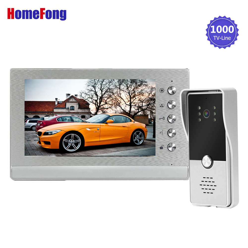 Homefong Video Door Phone Intercom Doorbell Camera Wired System Unlock Support Lock(Not Included) Waterproof Day Night Vision