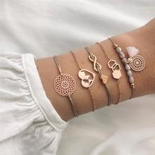 ZORCVENS Boho Charm Map Heart Bracelets & Bangles Set For Women Vintage Beaded Tassel Bracelet Accessories faux pearl charm beaded bracelets set