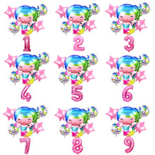 6Pcs/lot Large Cartoon Mermaid Foil 30 Inch Number Balloon set Birthday Balloons for Baby Girl Gift Ariel of Globos