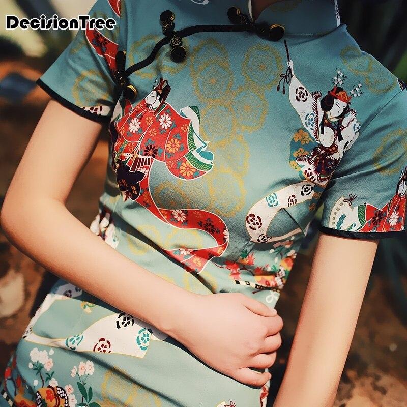 2020 Chinese Dress Female Qipao Short Style Cheongsam Women Traditional Silk Satin Dress Elegant Vintage Qipao Dress