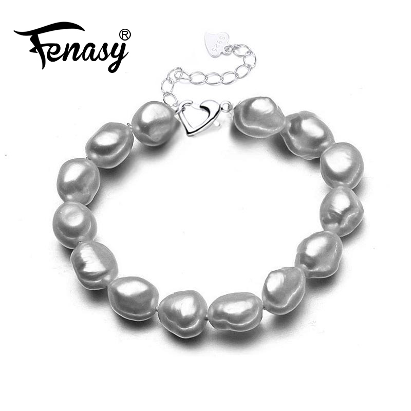 FENASY Real Natural Freshwater Baroque Pearl Bracelet For Women Bracelets & Bangles ankle bracelet for love fine jewelry