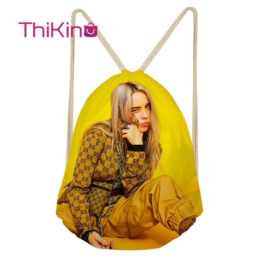 Thikin Billie Eilish Casual Sack Drawstring Bag For Girl Travel Backpack Toddler Softback Lady Beach Mochila DrawString Bag