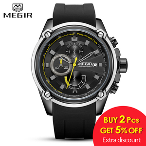 Image 2 - MEGIR Fashion Men Watch Top Brand Luxury Chronograph Waterproof Sport Mens Watches Silicone Automatic Date Military Wristwatch