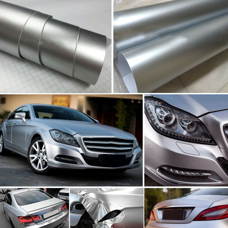 Image 5 - car accessory 30*150CM Satin Matte Chrome Metallic Silver Vinyl Film Wrap Sticker Bubble Free-in Car Stickers from Automobiles & Motorcycles