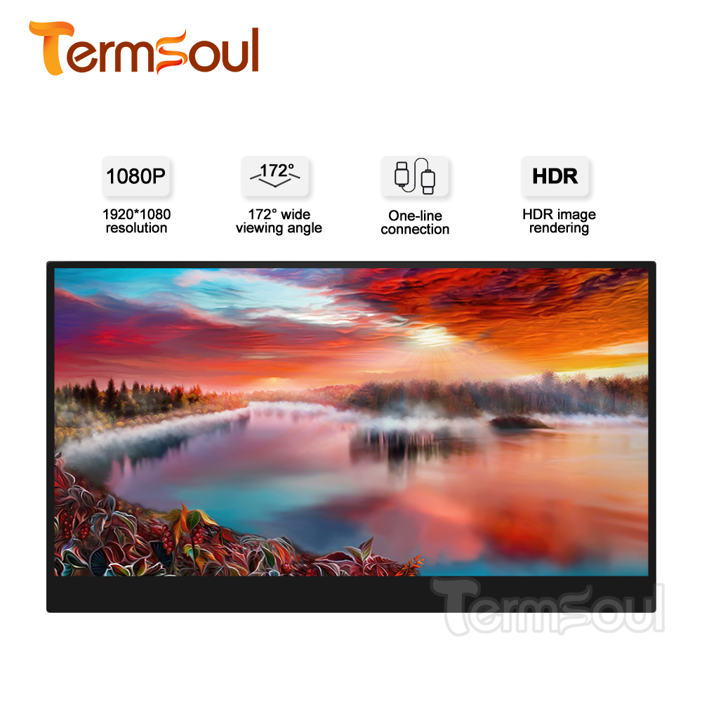 Termsoul Portable Monitor 15.6 Inches Screen HDMI Type-C USB C IPS  For Laptop XBox Switch Mobile Phone PS3 PS4 Gaming Monitor