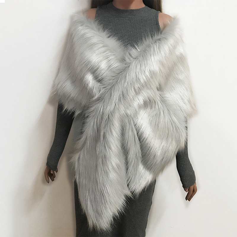 Women's Faux Fur Crop Poncho 2020 Spring Autumn Winter Female Fashion Outwears Lady Solid Fluffy Sleeveless Bridal Wedding Capes