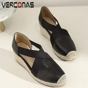 VERCONAS Women Top Quality Thick Bottom Genuine Leather Round Toe Thick Heels Basic Shoes Sandals Summer Concise Shoes Woman