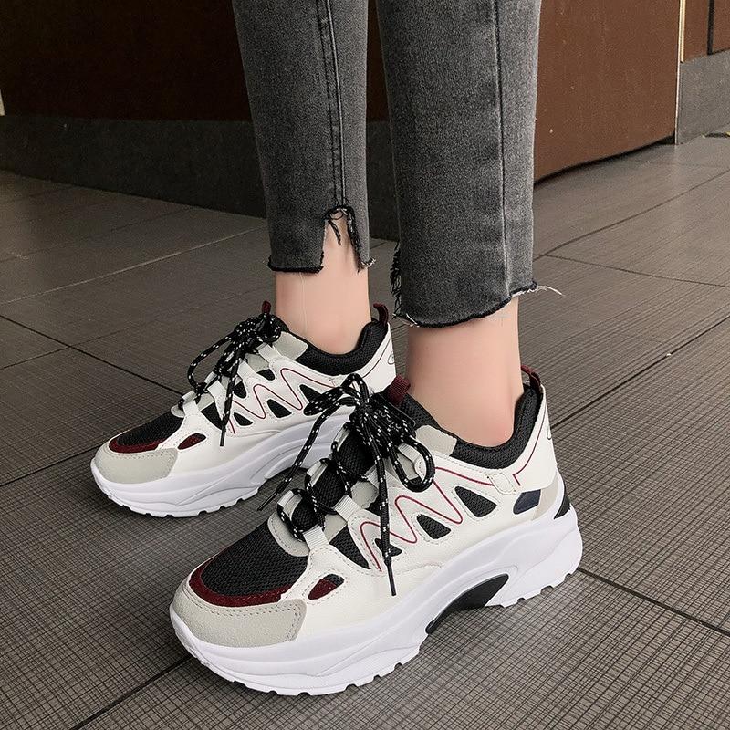 Autumn Winter Sport Shoes Woman Leopard Print 5cm Platform Walking Sneakers Women Outdoor Running Shoes Height Increasing A513 54