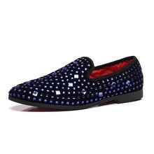 Mężczyźni buty sukienka mokasyny boże narodzenie Crystal Party Dress mężczyźni Casual Rhinestone czerwony niebieski człowiek mokasyny obuwie duży rozmiar 37 48
