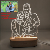 Customized Text Photo 3D Print Night Light DIY Desk Lamp Wooden Base Christmas Holiday Gift USB Power Three White Light