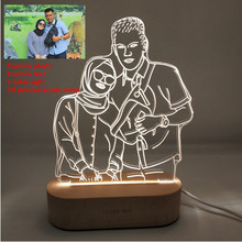 カスタマイズされたテキスト写真3Dプリント夜の光デスクランプ木製ベースクリスマスバレンタインデーのギフトusb電源3白ライト
