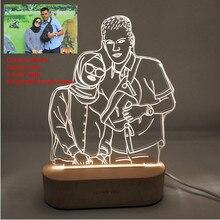 Angepasst Text Foto 3D Druck Nacht Licht Schreibtisch Lampe Holz Basis Weihnachten Valentinstag Geschenk USB Power Drei Weiß licht