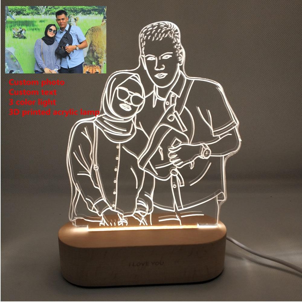 Customized Text Photo 3D Print Night Light Desk Lamp Wooden Base Christmas  Valentine's Day Gift USB Power Three White Light