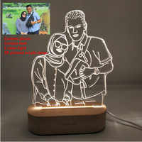 Customized Text Photo 3D Print Night Light Desk Lamp Wooden Base Christmas Valentine's Day Gift USB Power Three White Light