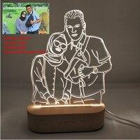 Customized Text Photo 3D Print Night Light DIY Desk Lamp Wooden Base Christmas Holiday Gift USB Power Three White Light