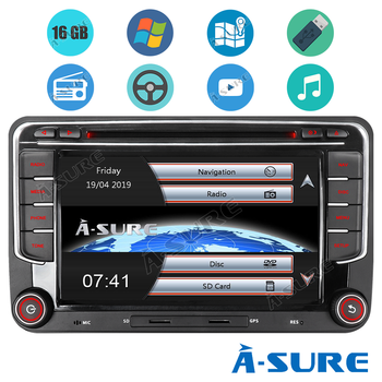 A-Sure Car Multimedia 2 Din 7 Inch Auto Radio DVD GPS Navigation DAB+ BT For VW Volkswagen Golf 5 6 Polo Passat B6 b7 Seat Skoda image