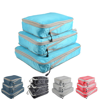3 шт./компл., компрессионная упаковка, кубики, дорожная сумка для хранения, чемодан, органайзер, набор, складной, водонепроницаемый, нейлоновы...