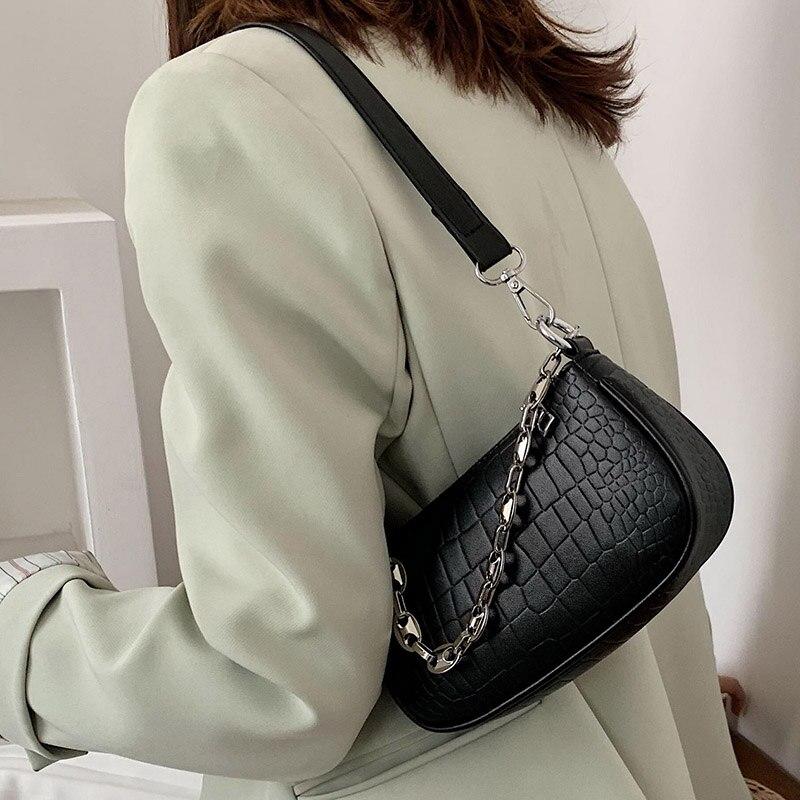 Bolsa de Ombro para Mulheres do Mensageiro Bolsa de Couro de Luxo da Forma do Jacaré do Vintage Nova Moda Bolsas Crossbody Baguette 2020
