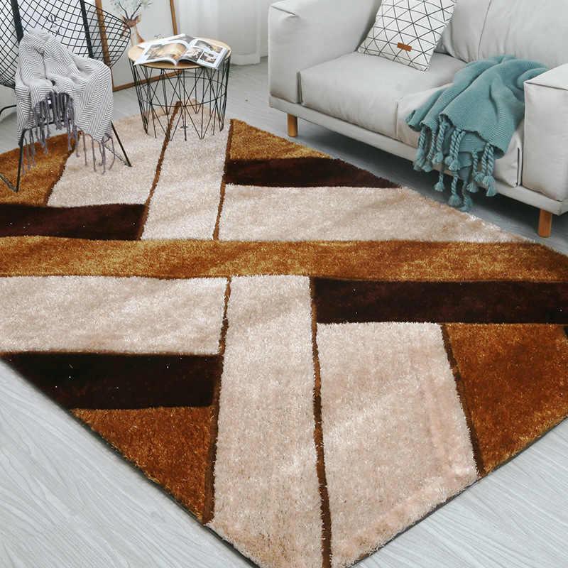 Корейский шелк толстые спальни ковры, коврики для гостиной alfombres журнальный столик Мягкий Пушистый 3D современный ковер пол Декор