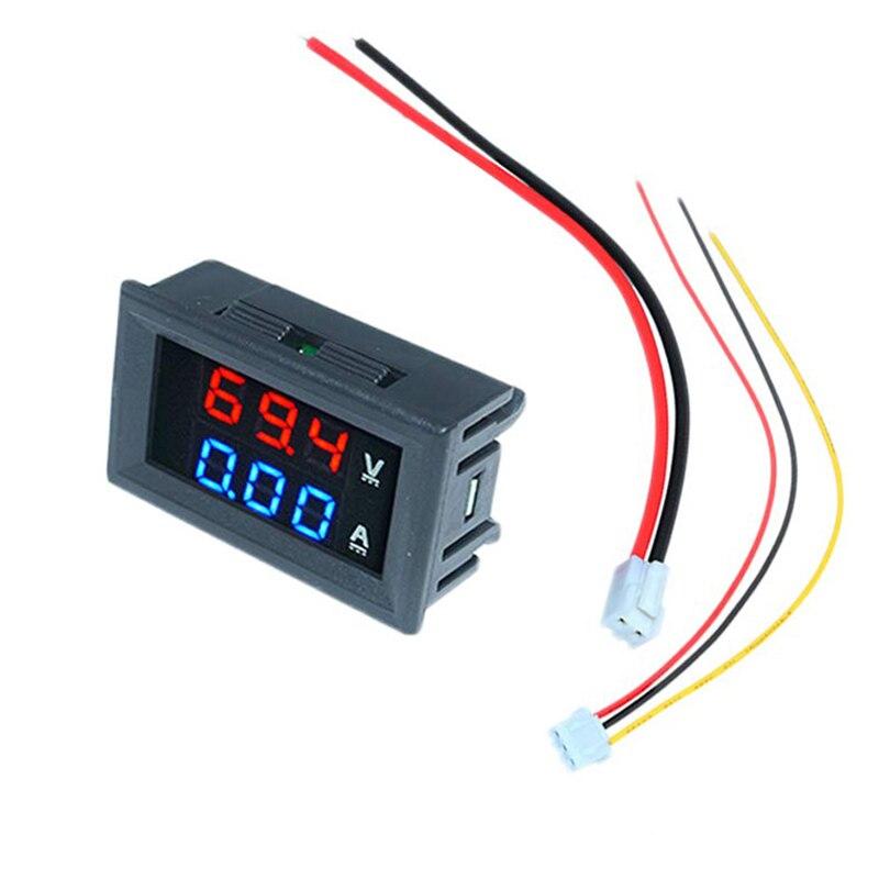 Цифровой вольтметр Амперметр постоянного тока 100 в 10 А Автомобиль Мотоцикл синий с красным двойным дисплеем светодиодный Усилитель двойной...