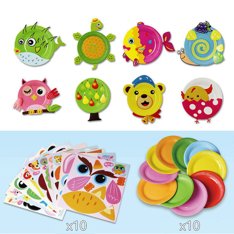 10pcs Children 3D Colorful DIY Handmade Toy Paper Plate Sticker Material EVA Sticker Kids Kindergarten Art Educational Toys Gift