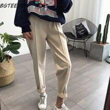 BGTEEVER – Pantalon crayon épais, taille haute et ample pour femme, grandes tailles disponibles, vêtement en laine, très bon tissu pour l'automne