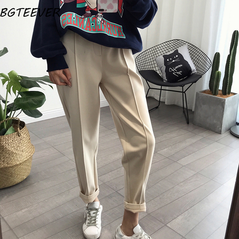 BGTEEVER Winter Thicken Women Pencil   Pants   Plus Size Wool   Pants   Female 2019 Autumn High Waist Loose Trousers   Capris   Good Fabric