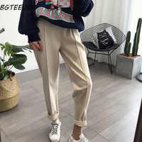 BGTEEVER invierno Thicken mujeres lápiz pantalones más tamaño lana Pantalones mujer 2019 otoño alta cintura pantalones sueltos Capris buena tela