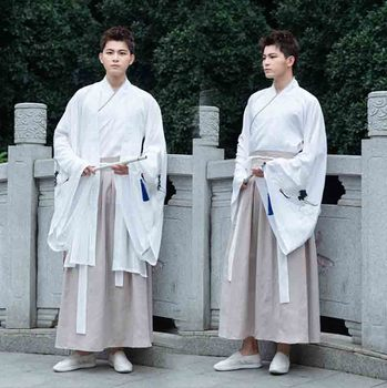 Chinese Ancient Traditional Embroidery Hanfu Men&Women White Jacket Gray Sets Cosplay Costume Hanfu Outfit For Couples Plus Size 2020 hanfu coat chinese crane print hanfu coat traditional ancient han tang dynasty red cloak female cosplay cardigan