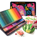 Профессиональные масляные цветные карандаши, 72/120/180, набор мягких деревянных карандашей, квадратные бочки, жестяная коробка для рисования, ...