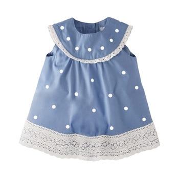 Pouco maven novo verão crianças bonito laranja azul laço impresso o pescoço sem mangas meninas 2-7yrs pontos algodão tecido vestidos casuais