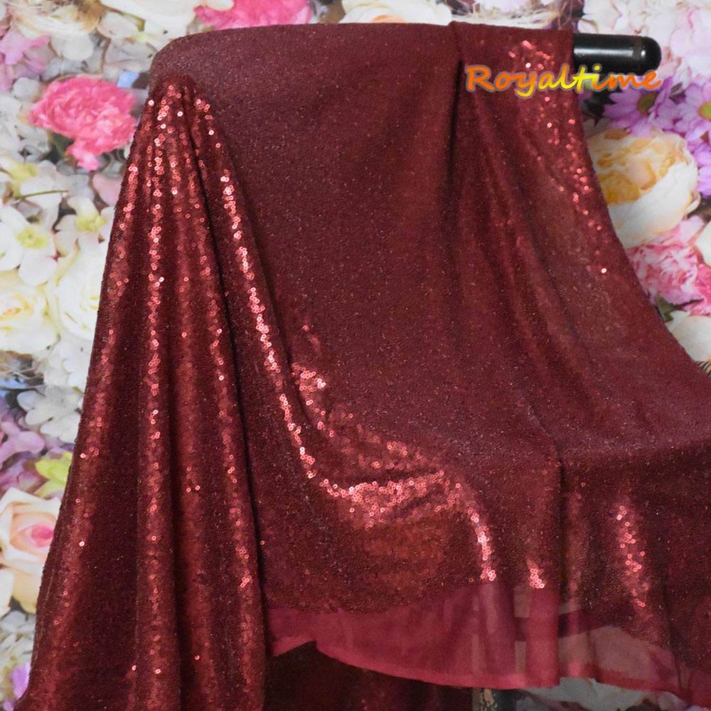 Burgundy Sequin Fabric 003