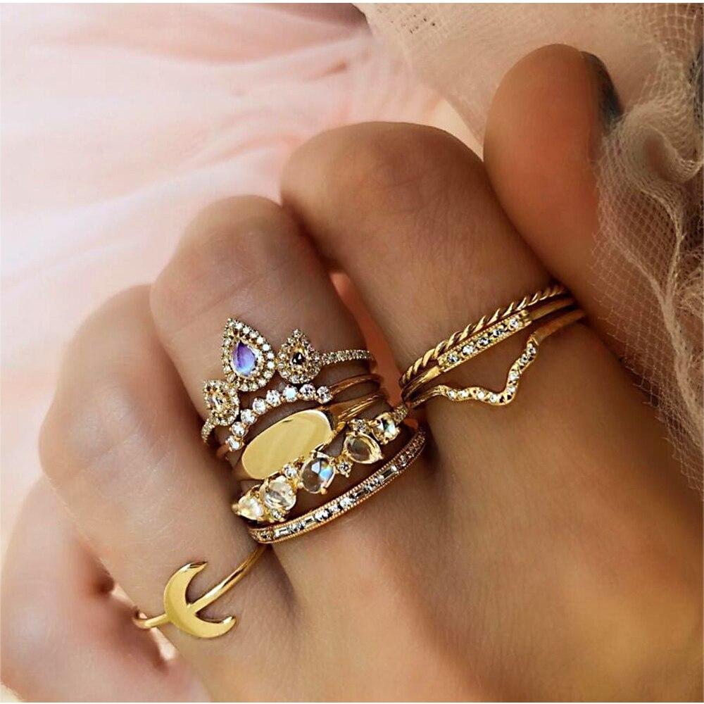 20 видов стилей Для женщин в богемном стиле винтажная корона цветок из складок сердце лотоса Star кристалл в форме листика опал кольцо с камнем вечерние украшения Серебряные кольца комплект - Цвет основного камня: 2013