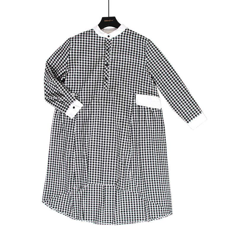GALCAUR корейский Клетчатый хит цвета летнее платье стоячий воротник длинный рукав карман свободные женские OL Стиль 2019 осень мода новый