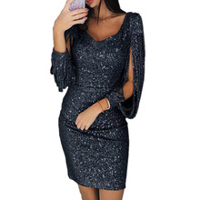 Long Sleeve Bodycon Party Dress Europe Style Tassel Solid Color V neck Sheath Glitter 2019