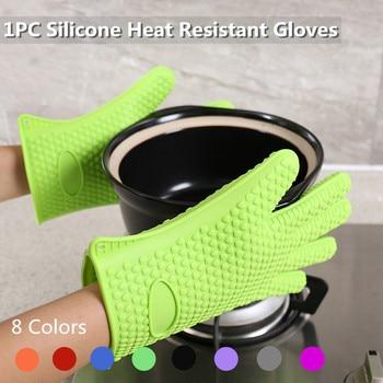 цена на 1PC food grade Silicone Glove Kitchen Heat Resistant Glove Temperature Gloves Cooking Baking BBQ Oven Gloves Kitchen Accessories