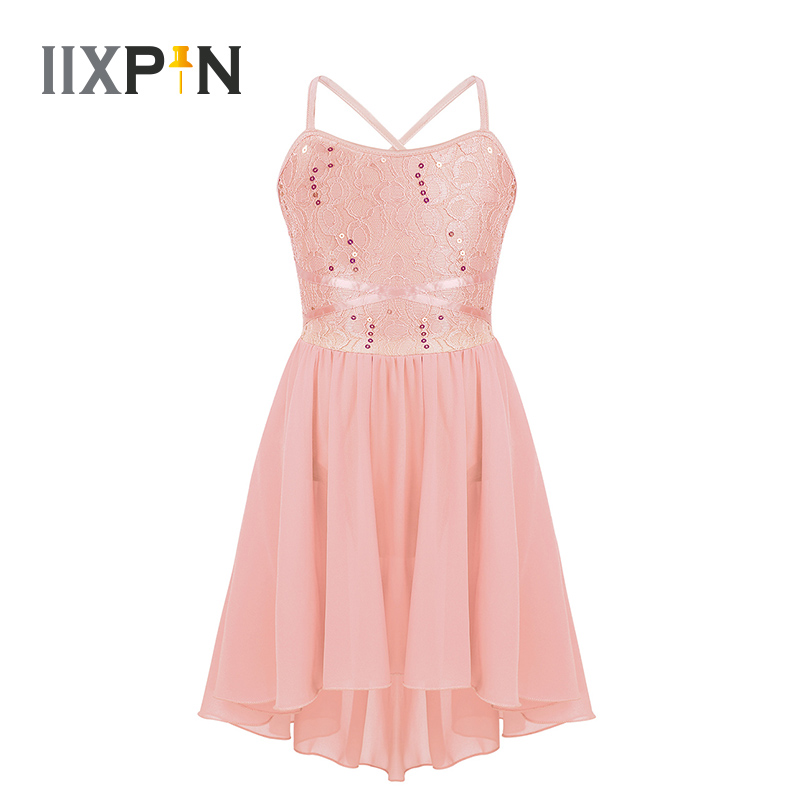 Kids Girls Ballet Sequin Lace Leotard High-Low Hem Chiffon Dress Lyrical Dance Costume Modern Contemporary Ballroom Dance Dress