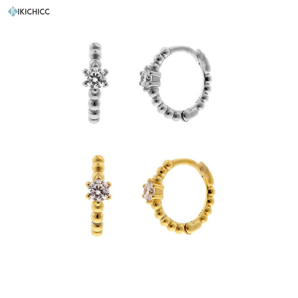 Kikichicc 925 Sterling Silver 8MM Beads Crystal Hoops Huggies Middle Circle Women Luxury Rock Punk Piercing Pendientes Earrings
