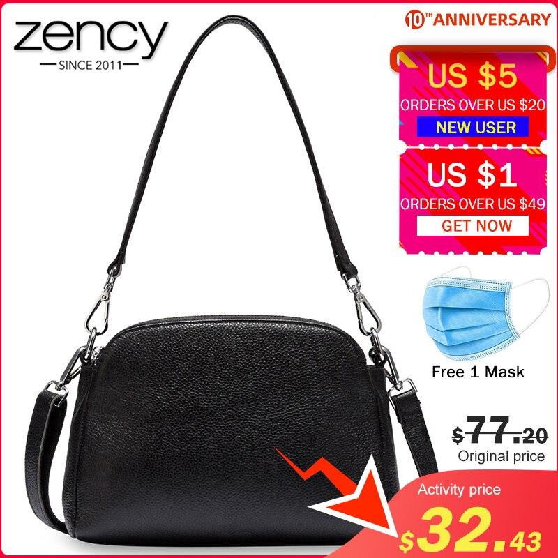 Zency 100% Genuine Leather Fashion Women Shoulder Bag White Shell Bags Two Zippers Closing Elegant Crossbody Purse Black