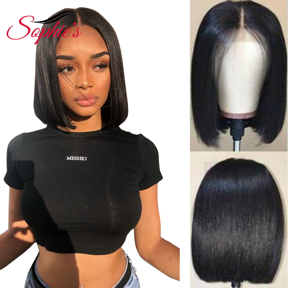 Sophie's 13*4 Lace Front Bob Human Hair Wigs Pre-Plucked Brazilian Straight Human Hair Wigs 150% Density Remy Wig 8-14