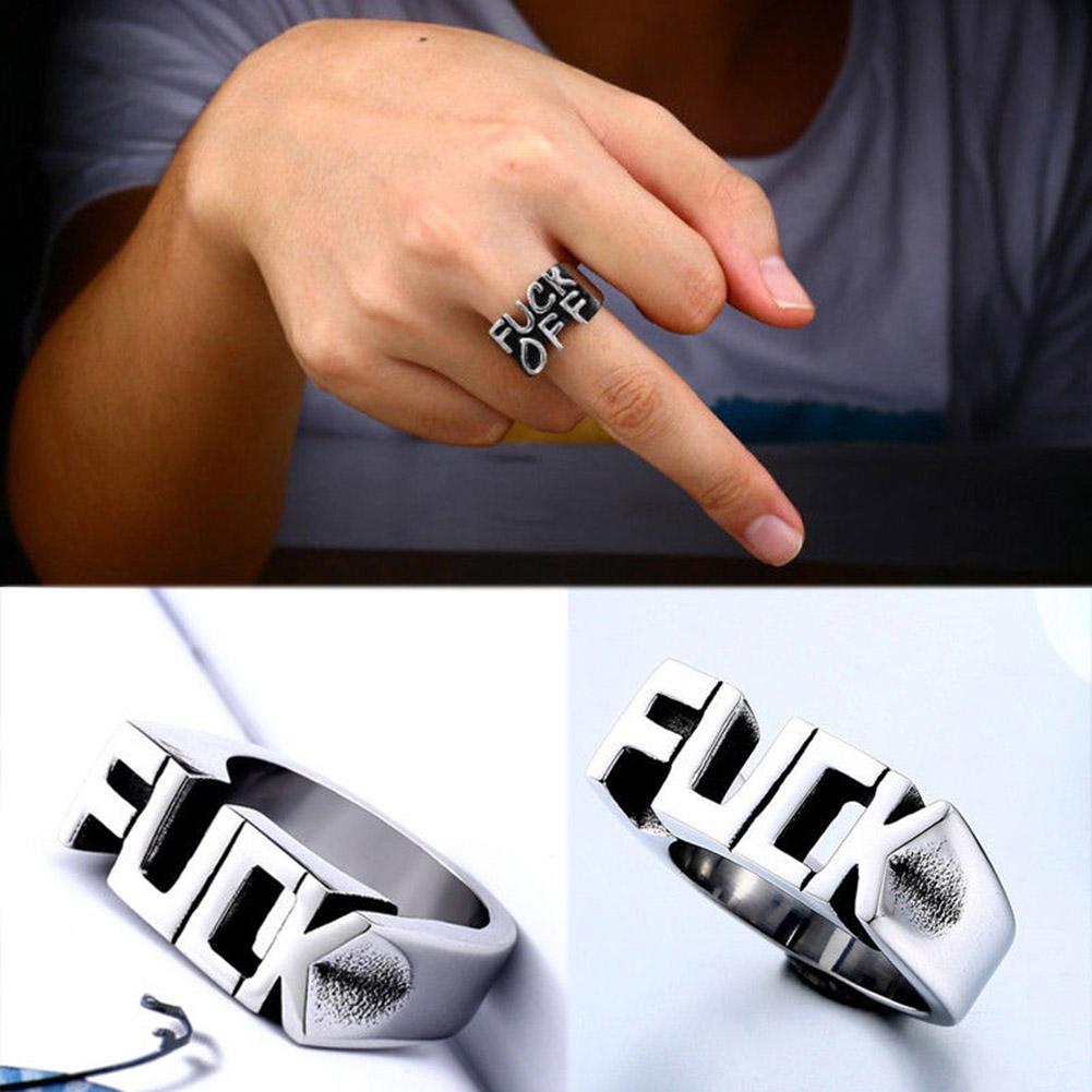 Fashion Punk Gothic Titanium Steel Brass Stainless Cool Gothic Men Finger Rings Biker Cool Ring Vintage Jewelry