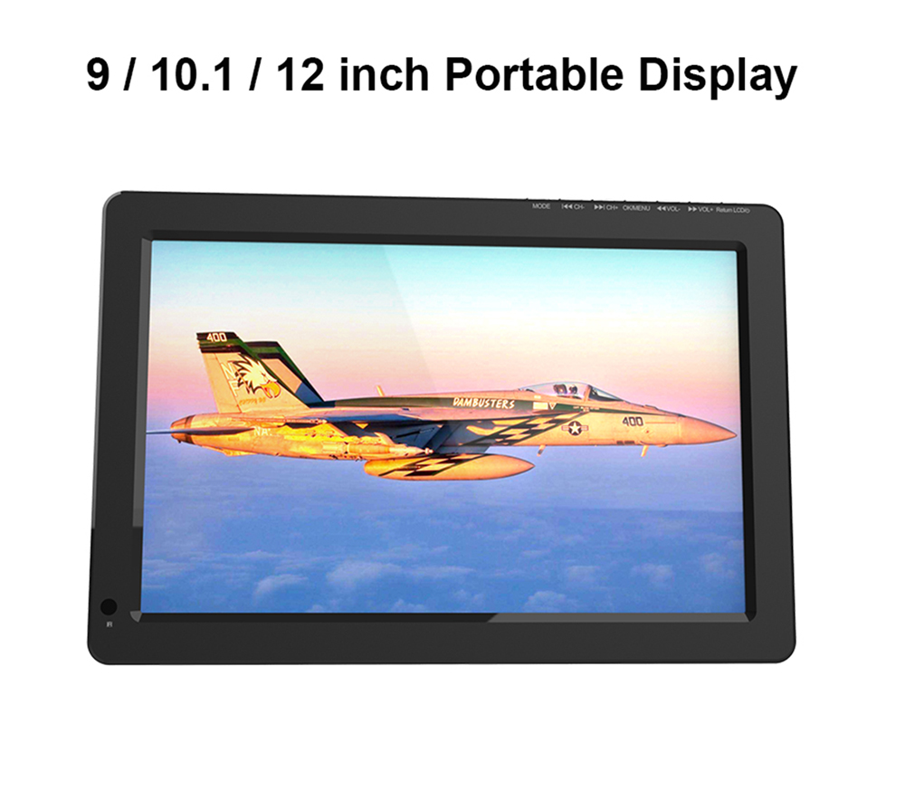 D12 Portable Display 12 inch car Display HD Player 2000 mah Battery DVB-T2 Support PVR USB TF card multi-function Media player