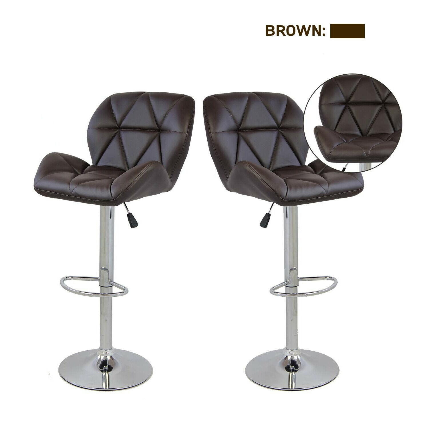 Set Of 2 PU Leather Bar Stool Adjustable Swivel Hydraulic Dinning Chair Brown US