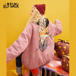 Женское вельветовое пальто ELFSACK, розовое однотонное Стеганое пальто с принтом лисы, однотонное однобортное пальто желтого цвета в Корейско...