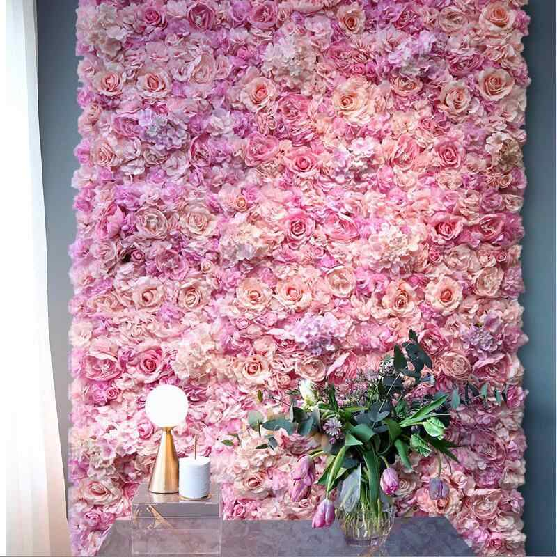 Silk Rose Flower Home Decor Champagne Artificial Flower for Wedding Decoration Flower Wall Romantic Wedding Backdrop Decor