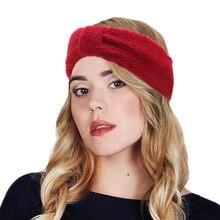 Winter Ear Warmer Headband Women Elastic  rabbit fur Knitted Head Wrap Hairband Girls Elegant Hair Band Accessories